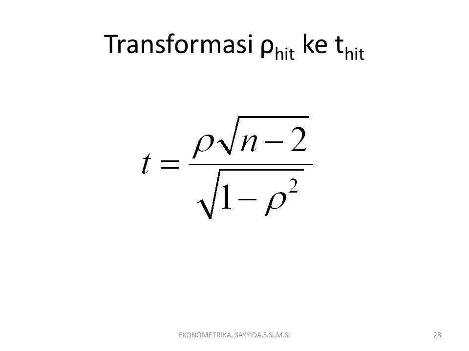 Transformasi ρ hit ke t hit EKONOMETRIKA, SAYYIDA,S.Si,M.Si28