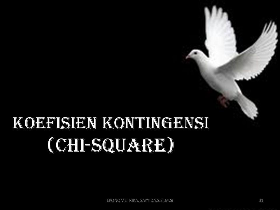 EKONOMETRIKA, SAYYIDA,S.Si,M.Si31 Koefisien kontingensi (chi-square)
