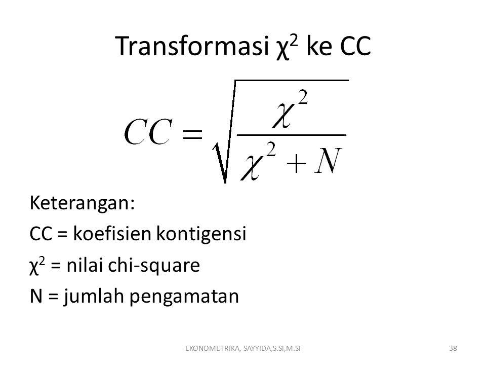 Transformasi χ 2 ke CC EKONOMETRIKA, SAYYIDA,S.Si,M.Si38 Keterangan: CC = koefisien kontigensi χ 2 = nilai chi-square N = jumlah pengamatan