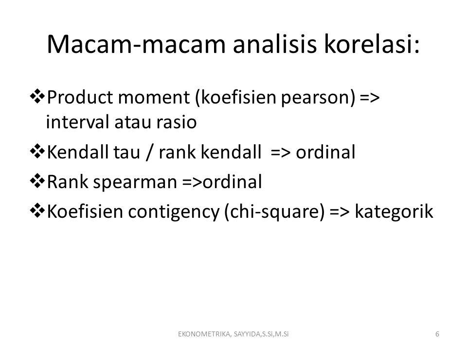 Macam-macam analisis korelasi:  Product moment (koefisien pearson) => interval atau rasio  Kendall tau / rank kendall => ordinal  Rank spearman =>ordinal  Koefisien contigency (chi-square) => kategorik EKONOMETRIKA, SAYYIDA,S.Si,M.Si6