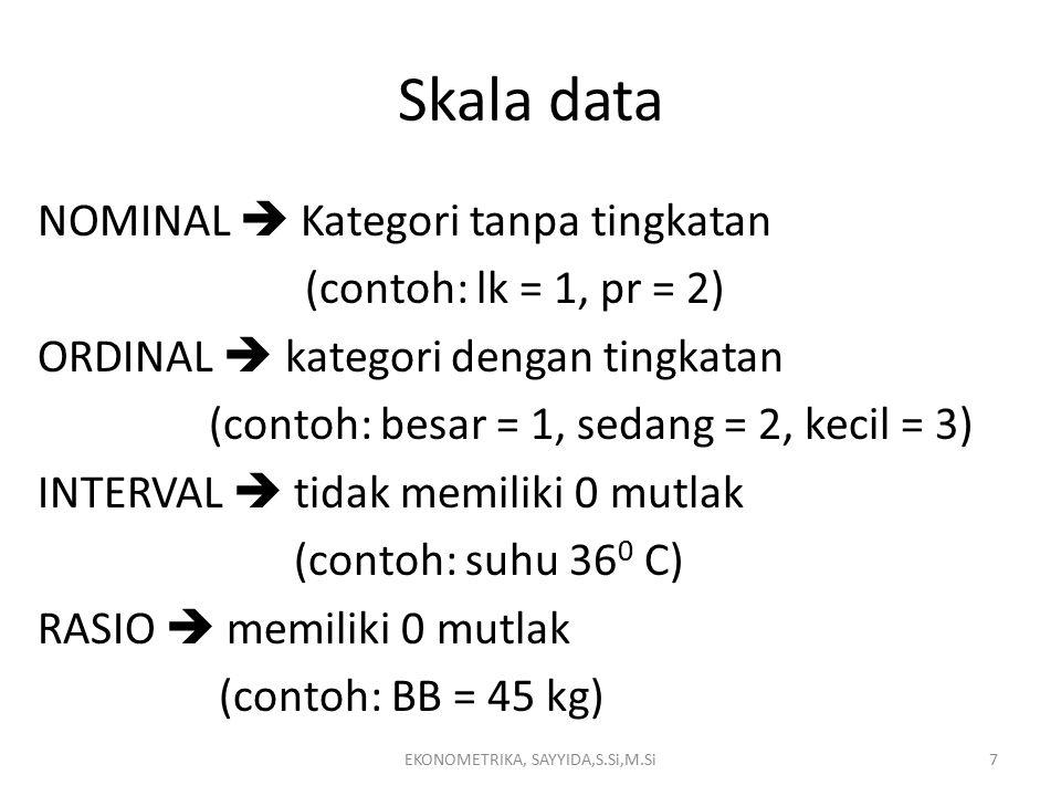 Skala data NOMINAL  Kategori tanpa tingkatan (contoh: lk = 1, pr = 2) ORDINAL  kategori dengan tingkatan (contoh: besar = 1, sedang = 2, kecil = 3) INTERVAL  tidak memiliki 0 mutlak (contoh: suhu 36 0 C) RASIO  memiliki 0 mutlak (contoh: BB = 45 kg) EKONOMETRIKA, SAYYIDA,S.Si,M.Si7