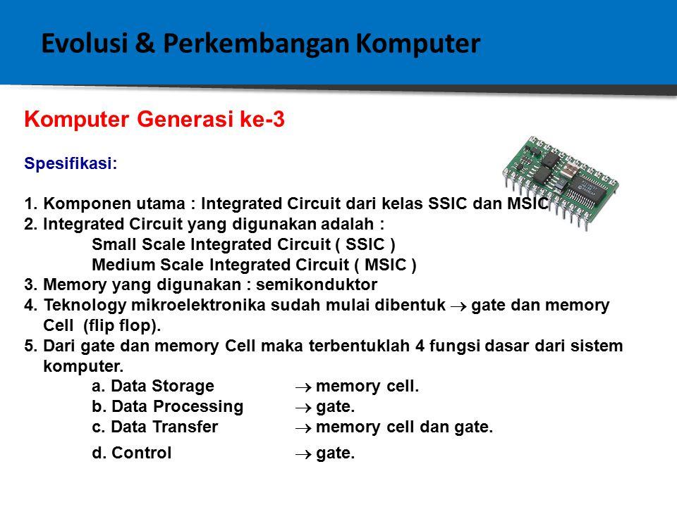 Evolusi & Perkembangan Komputer Komputer Generasi Ke - 2 Spesifikasi: 1.Komponen utama : Transistor 2.Kecepatan proses lebih tinggi 3.Kapasitas penyimpanan data / instruksi yang lebih besar 4.Ukuran lebih kecil 5.Daya operasional dan dimensi fisik yang makin kecil.