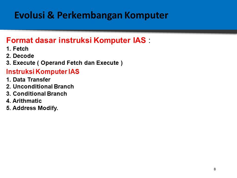 8 Evolusi & Perkembangan Komputer Format dasar instruksi Komputer IAS : 1.