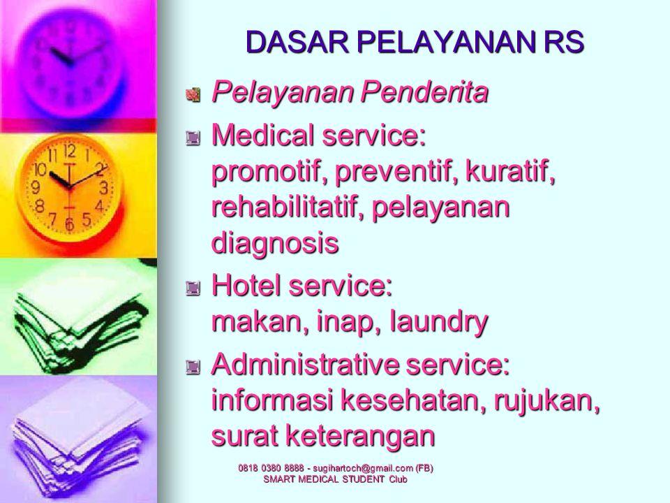 0818 0380 8888 - sugihartoch@gmail.com (FB) SMART MEDICAL STUDENT Club FUNGSI RS SK Menkes No 134/ Menkes/SK/IV/1978 Pelayanan medis Rehabilitasi medi