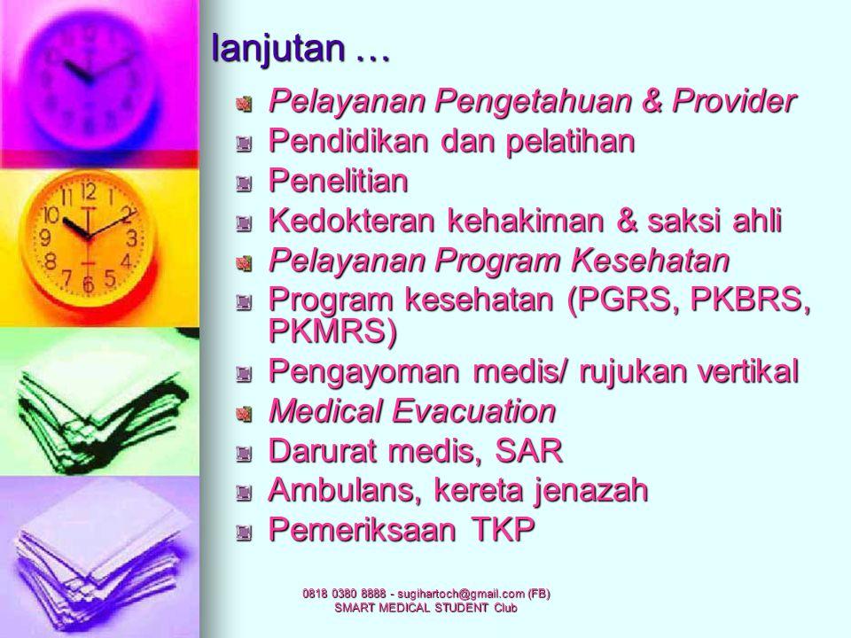0818 0380 8888 - sugihartoch@gmail.com (FB) SMART MEDICAL STUDENT Club DASAR PELAYANAN RS Pelayanan Penderita Medical service: promotif, preventif, ku