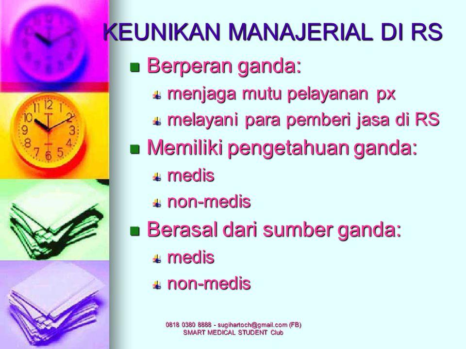 0818 0380 8888 - sugihartoch@gmail.com (FB) SMART MEDICAL STUDENT Club Manajemen SDM Manajemen SDM Manajemen mutu Manajemen mutu Manajemen logistik Ma