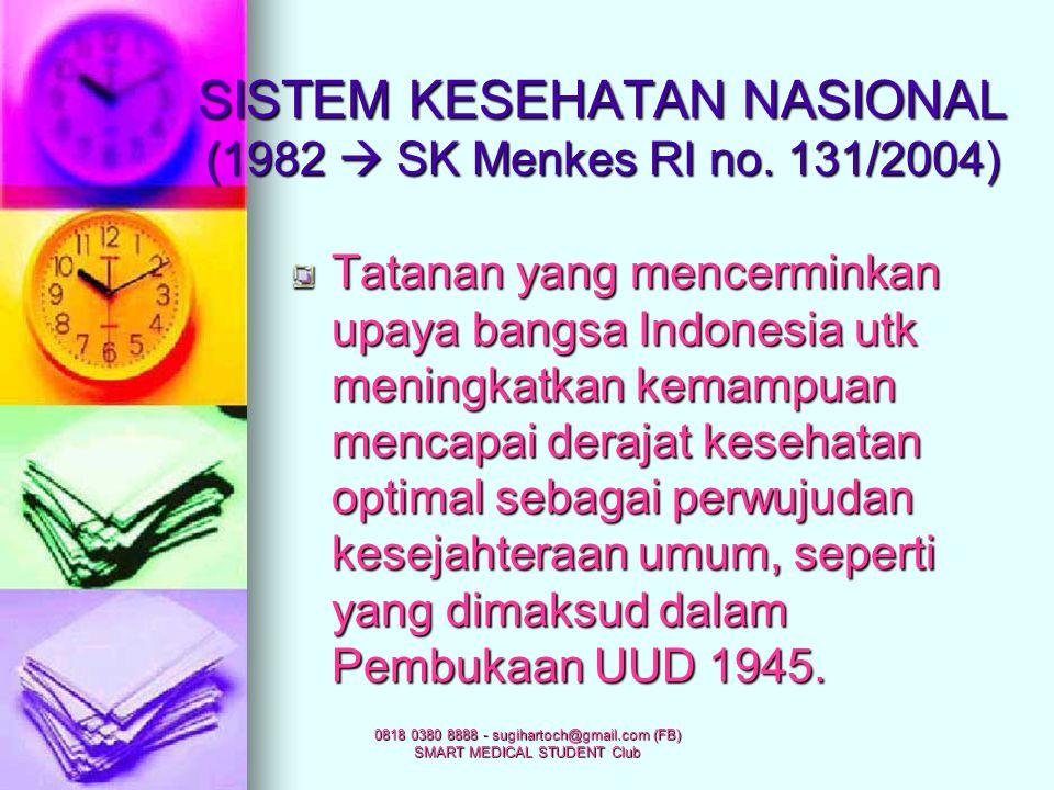 0818 0380 8888 - sugihartoch@gmail.com (FB) SMART MEDICAL STUDENT Club SISTEM KESEHATAN (WHO, 1984) Kumpulan faktor-faktor yang kompleks dan saling be