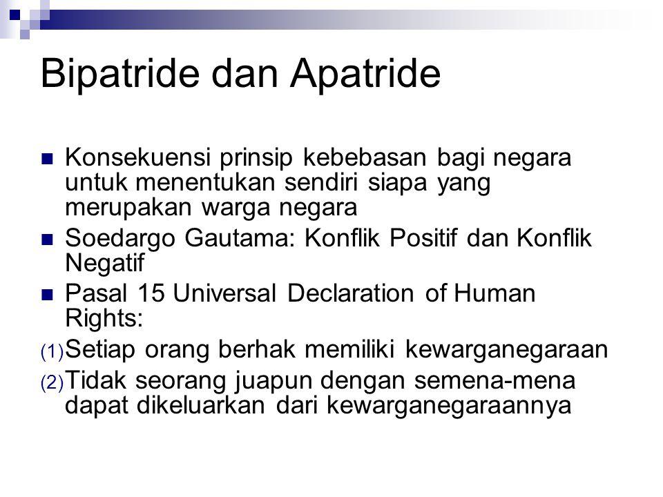 Bipatride dan Apatride Konsekuensi prinsip kebebasan bagi negara untuk menentukan sendiri siapa yang merupakan warga negara Soedargo Gautama: Konflik Positif dan Konflik Negatif Pasal 15 Universal Declaration of Human Rights: (1) Setiap orang berhak memiliki kewarganegaraan (2) Tidak seorang juapun dengan semena-mena dapat dikeluarkan dari kewarganegaraannya