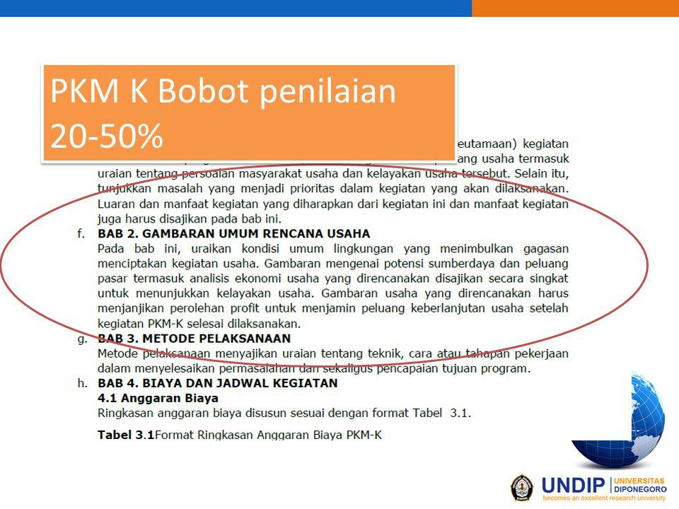 PKM K Bobot penilaian 20-50%