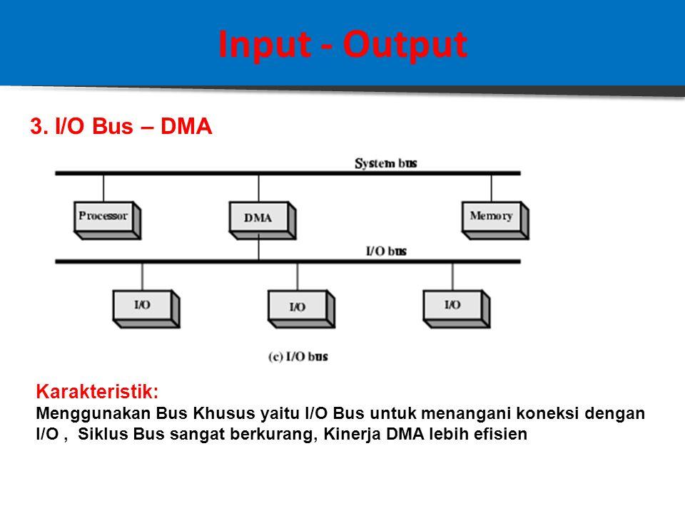 Input - Output 2.Integrated DMA –I/O Karakteristik: - Modul I/O dan DMA di-integrasikan dalam satu blok - Siklus Bus berkurang - Perancangan DMA lebih