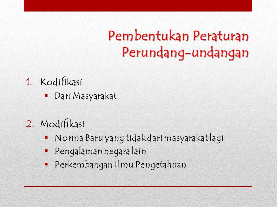 Pembentukan Peraturan Perundang-undangan 1.Kodifikasi  Dari Masyarakat 2.Modifikasi  Norma Baru yang tidak dari masyarakat lagi  Pengalaman negara