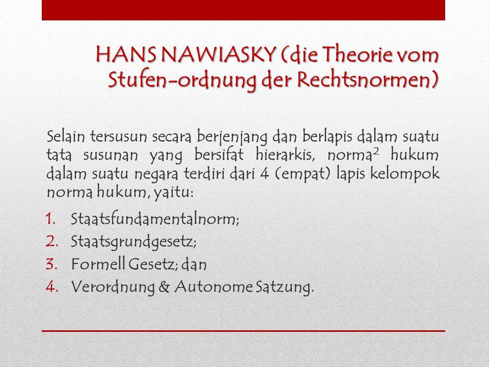 HANS NAWIASKY (die Theorie vom Stufen-ordnung der Rechtsnormen) Selain tersusun secara berjenjang dan berlapis dalam suatu tata susunan yang bersifat
