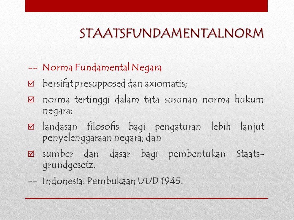 STAATSFUNDAMENTALNORM -- Norma Fundamental Negara  bersifat presupposed dan axiomatis;  norma tertinggi dalam tata susunan norma hukum negara;  lan
