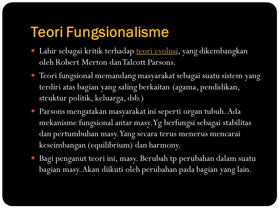 Teori Fungsionalisme Lahir sebagai kritik terhadap teori evolusi, yang dikembangkan oleh Robert Merton dan Talcott Parsons.teori evolusi Teori fungsio