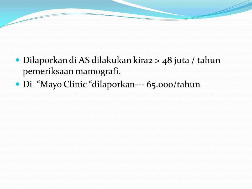 "Dilaporkan di AS dilakukan kira2 > 48 juta / tahun pemeriksaan mamografi. Di ""Mayo Clinic ""dilaporkan--- 65.000/tahun"