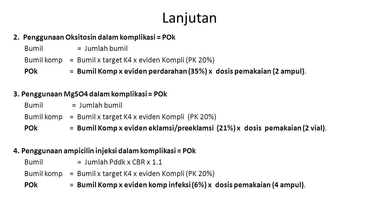 Lanjutan 2. Penggunaan Oksitosin dalam komplikasi = POk Bumil = Jumlah bumil Bumil komp = Bumil x target K4 x eviden Kompli (PK 20%) POk = Bumil Komp
