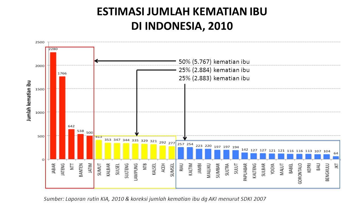 ESTIMASI JUMLAH KEMATIAN IBU DI INDONESIA, 2010 50% (5.767) kematian ibu 25% (2.884) kematian ibu 25% (2.883) kematian ibu Sumber: Laporan rutin KIA,