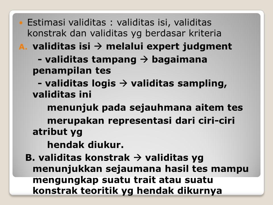 Estimasi validitas : validitas isi, validitas konstrak dan validitas yg berdasar kriteria A.