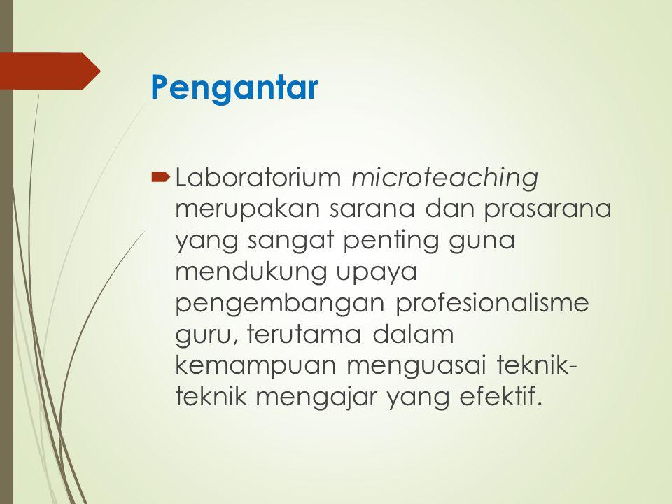 Fungsi Laborarorium Microteaching Menyediakan fasilitas praktik/latihan untuk berlatih dan/atau memperbaiki dan meningkatkan keterampilan mengajar, yang pada hakikatnya merupakan latihan penerapan pengetahuan metode dan teknik mengajar dan/atau ilmu keguruan yang telah dipelajari secara teoritik; Fungsi Instruksional Menyediakan kemudahan untuk membina keterampilan dan/atau mengembangkan keterampilan khusus tentang teknik mengajar yang efektif Fungsi Pembinaan Menyediakan fasilitas dan kondisi spesifik untuk membimbing calon guru atau guru yang mengalami kesulitan melaksanakan keterampilan- keterampilan tertentu dalam proses pembelajaran; Fungsi Diagnostik Bagian integral dari PPL dan seharusnya merupakan mata kuliah prasyarat PPL dan berstatus sebagai mata kuliah wajib lulus; Fungsi Integralistik Digunakan untuk meningkatkan keterampilan mengajar, sehingga pada gilirannya lebih mampu memberikan bimbingan dan bantuan profesional terutama bagi guru-guru di sekolah; Fungsi Supervisi Tempat uji coba bagi para pakar di bidang pendidikan.