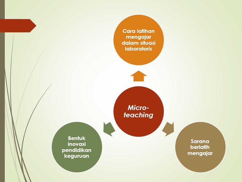 Microteaching Suatu pendekatan pembelajaran di mana segala sesuatunya dikecilkan atau disederhanakan dan dilaksanakan dalam situasi laboratoris yang terencana, terkontrol, dan berkelanjutan untuk membentuk dan mengembangkan keterampilan mengajar guru atau calon guru.