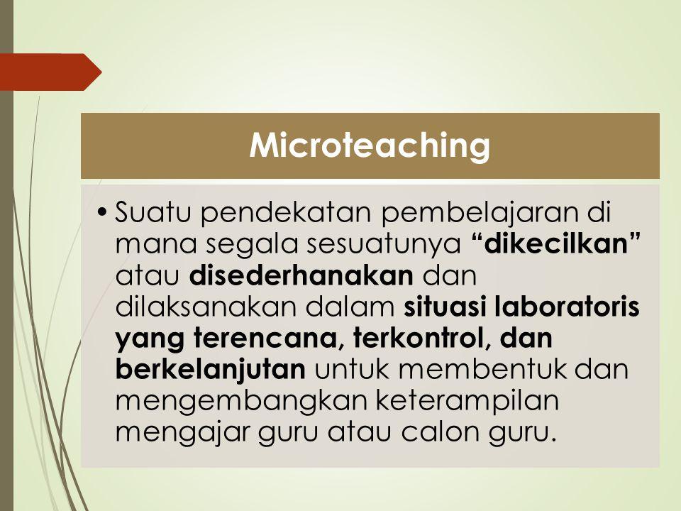 Pembelajaran Biasa Microteaching Jumlah Peserta Didik 30 - 40 orang5 - 10 orang Waktu30 - 45 menit10 - 15 menit Bahan Pelajaran L U A S TERBATAS Bahan pelajaran hanya mencakup satu dua aspek yang sederhana Keterampilan Mengajar TERINTEGRASI PARSIAL, TERISOLASI Kegiatan mengajar difokuskan pada keterampilan mengajar tertentu