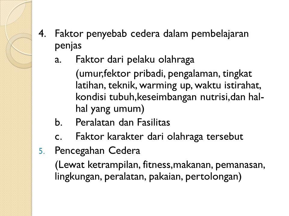4.Faktor penyebab cedera dalam pembelajaran penjas a.Faktor dari pelaku olahraga (umur,fektor pribadi, pengalaman, tingkat latihan, teknik, warming up