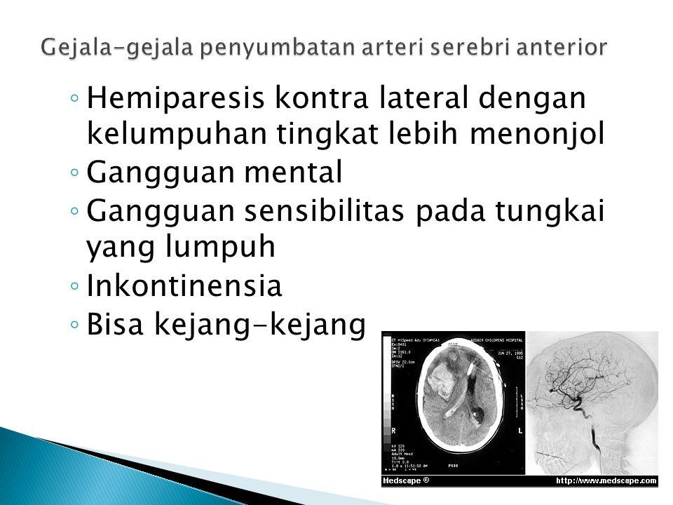 ◦ Hemiparesis kontra lateral dengan kelumpuhan tingkat lebih menonjol ◦ Gangguan mental ◦ Gangguan sensibilitas pada tungkai yang lumpuh ◦ Inkontinens
