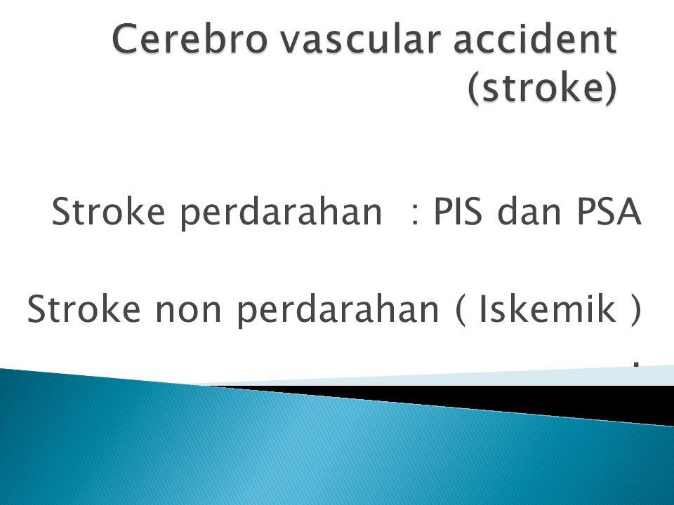 Stroke perdarahan : PIS dan PSA Stroke non perdarahan ( Iskemik ).