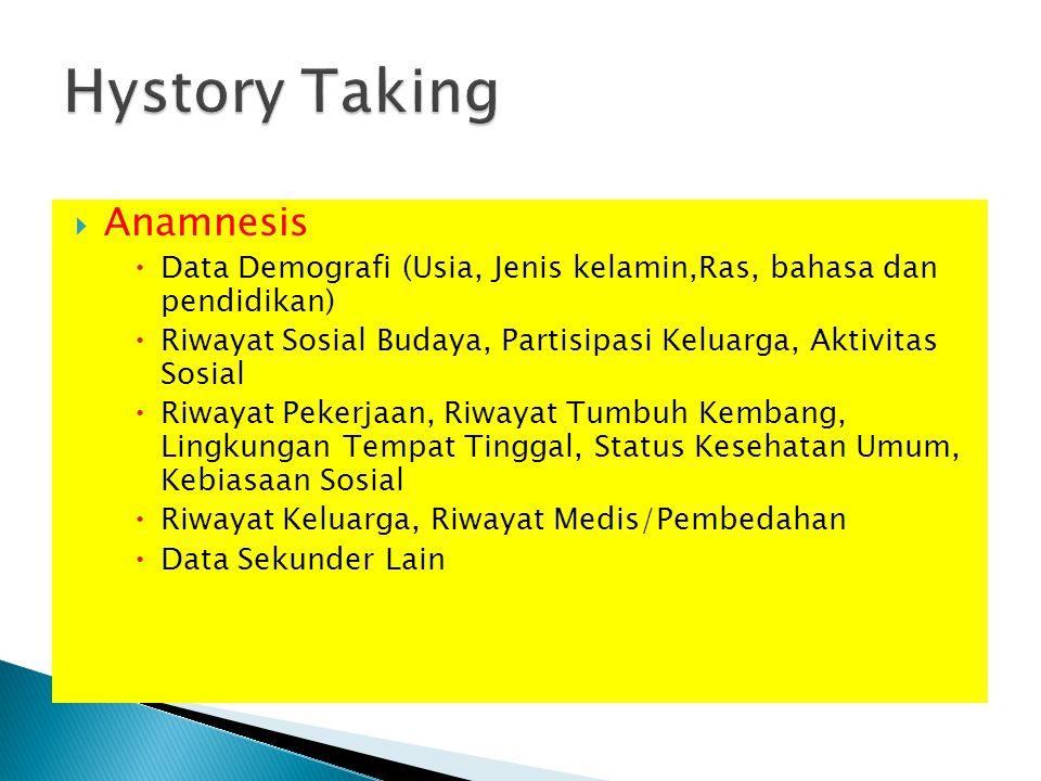  Anamnesis  Data Demografi (Usia, Jenis kelamin,Ras, bahasa dan pendidikan)  Riwayat Sosial Budaya, Partisipasi Keluarga, Aktivitas Sosial  Riwaya