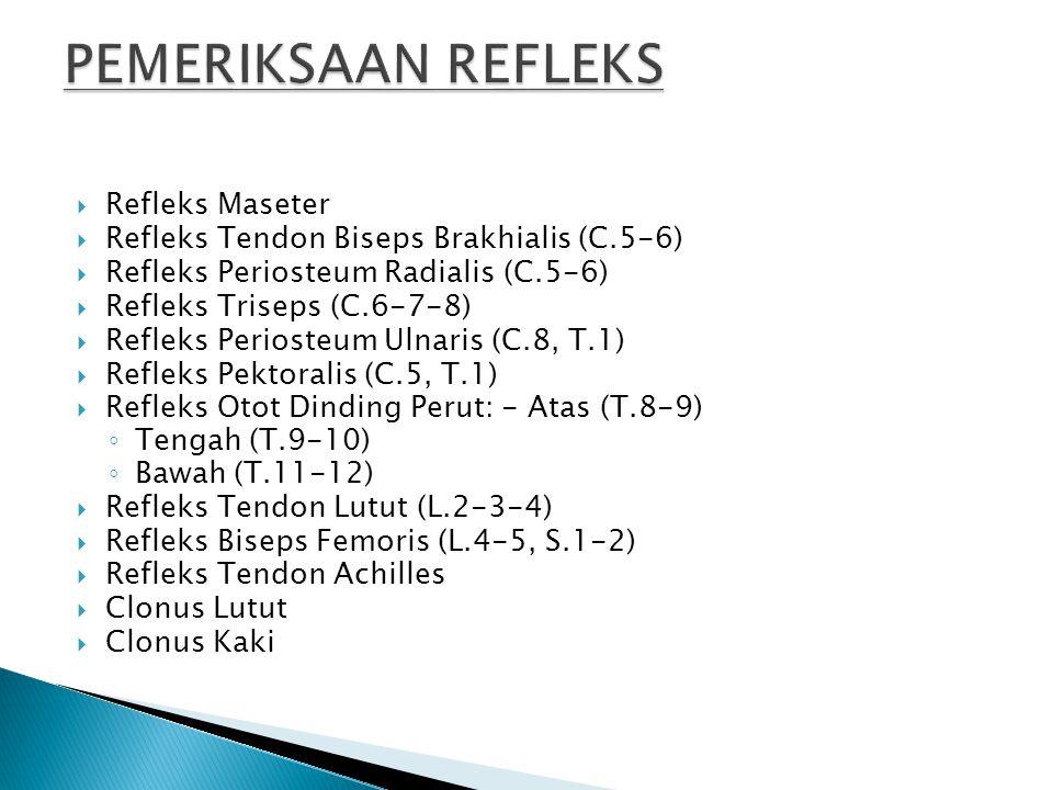  Refleks Maseter  Refleks Tendon Biseps Brakhialis (C.5-6)  Refleks Periosteum Radialis (C.5-6)  Refleks Triseps (C.6-7-8)  Refleks Periosteum Ul