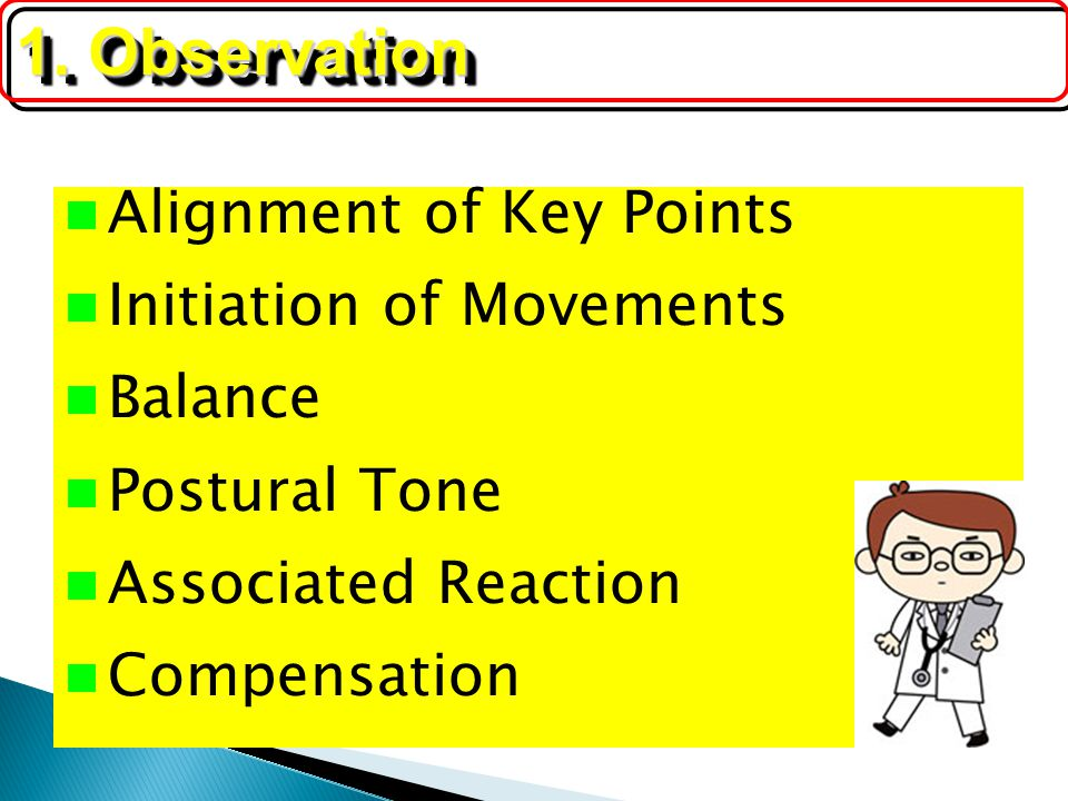 Alignment of Key Points Initiation of Movements Balance Postural Tone Associated Reaction Compensation 1. Observation