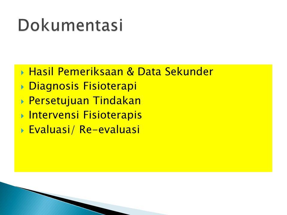  Hasil Pemeriksaan & Data Sekunder  Diagnosis Fisioterapi  Persetujuan Tindakan  Intervensi Fisioterapis  Evaluasi/ Re-evaluasi