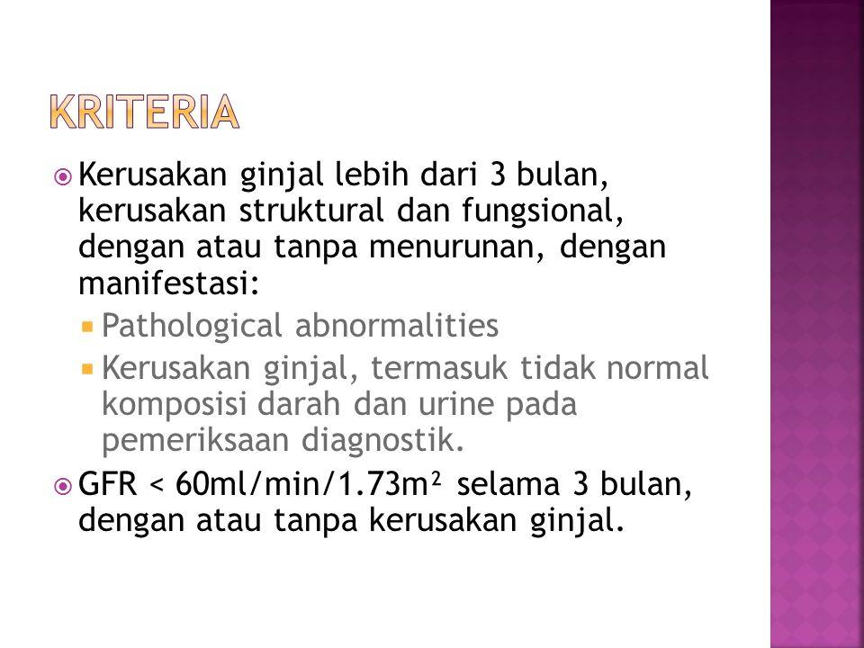  Kerusakan ginjal lebih dari 3 bulan, kerusakan struktural dan fungsional, dengan atau tanpa menurunan, dengan manifestasi:  Pathological abnormalit