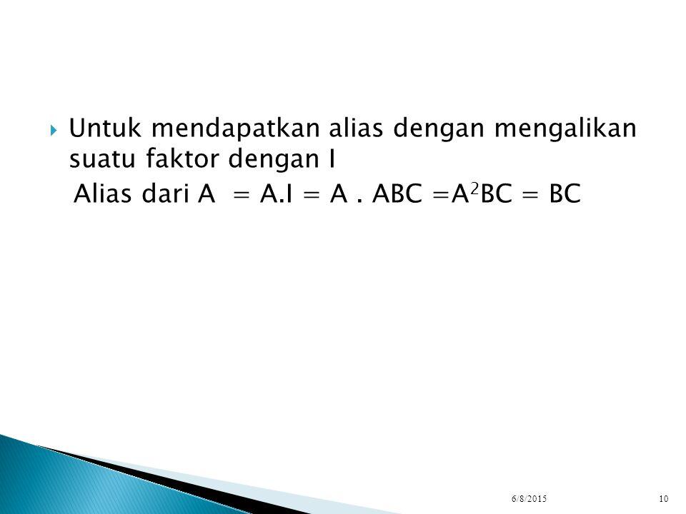  Untuk mendapatkan alias dengan mengalikan suatu faktor dengan I Alias dari A = A.I = A. ABC =A 2 BC = BC 6/8/201510