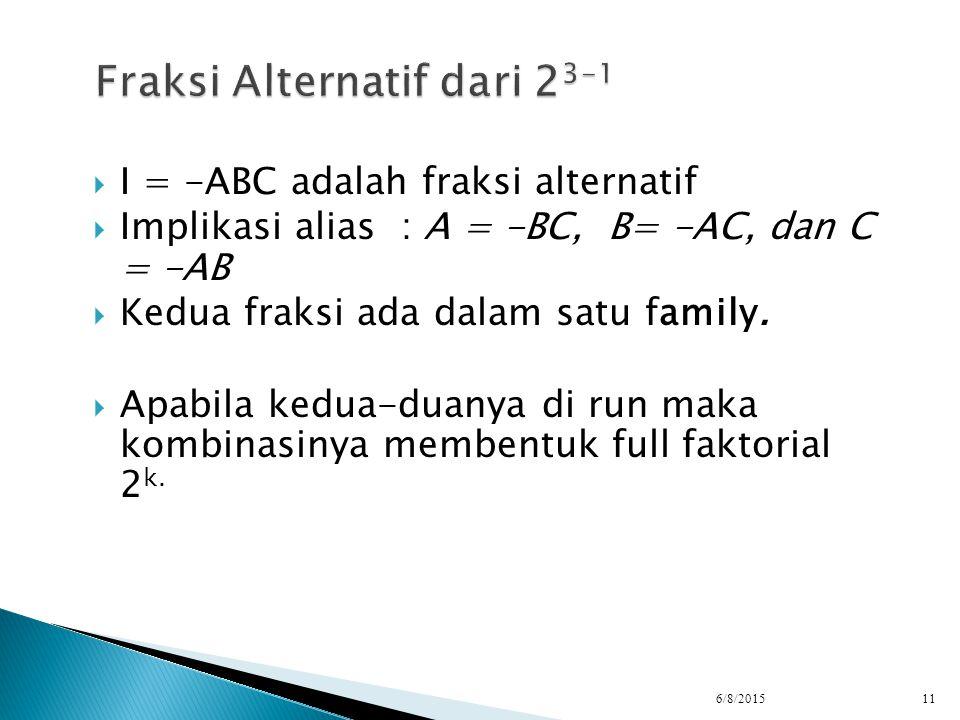  I = -ABC adalah fraksi alternatif  Implikasi alias : A = -BC, B= -AC, dan C = -AB  Kedua fraksi ada dalam satu family.  Apabila kedua-duanya di r