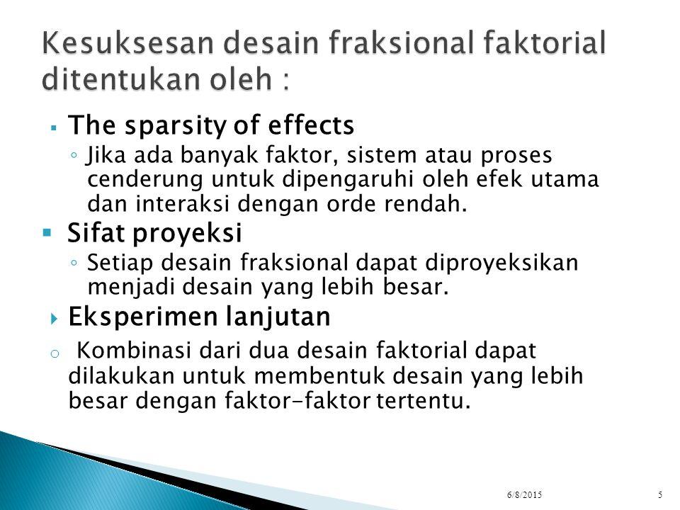  The sparsity of effects ◦ Jika ada banyak faktor, sistem atau proses cenderung untuk dipengaruhi oleh efek utama dan interaksi dengan orde rendah. 