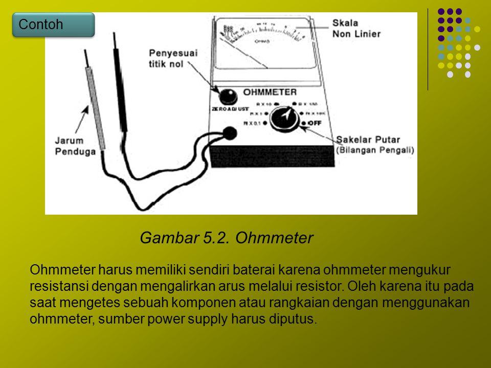 Gambar 5.2. Ohmmeter Ohmmeter harus memiliki sendiri baterai karena ohmmeter mengukur resistansi dengan mengalirkan arus melalui resistor. Oleh karena
