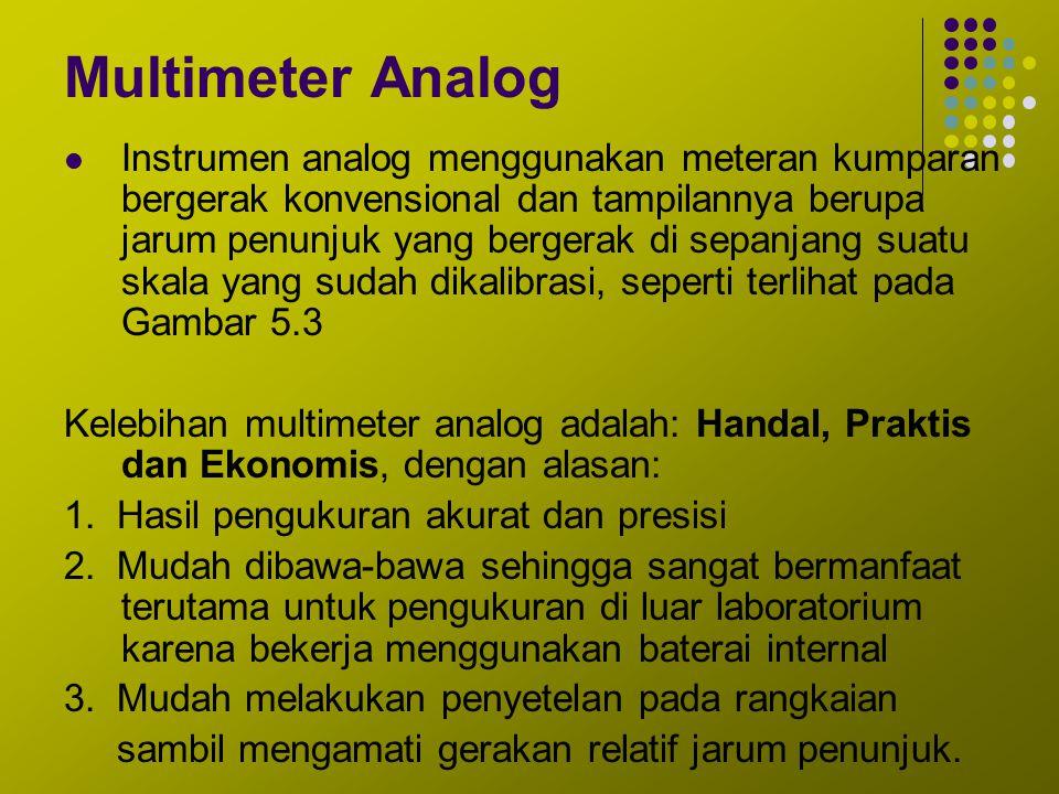 Multimeter Analog Instrumen analog menggunakan meteran kumparan bergerak konvensional dan tampilannya berupa jarum penunjuk yang bergerak di sepanjang