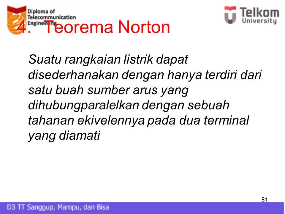 81 4.Teorema Norton Suatu rangkaian listrik dapat disederhanakan dengan hanya terdiri dari satu buah sumber arus yang dihubungparalelkan dengan sebuah