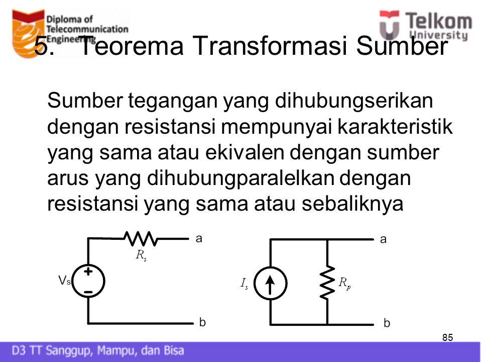 85 5.Teorema Transformasi Sumber Sumber tegangan yang dihubungserikan dengan resistansi mempunyai karakteristik yang sama atau ekivalen dengan sumber