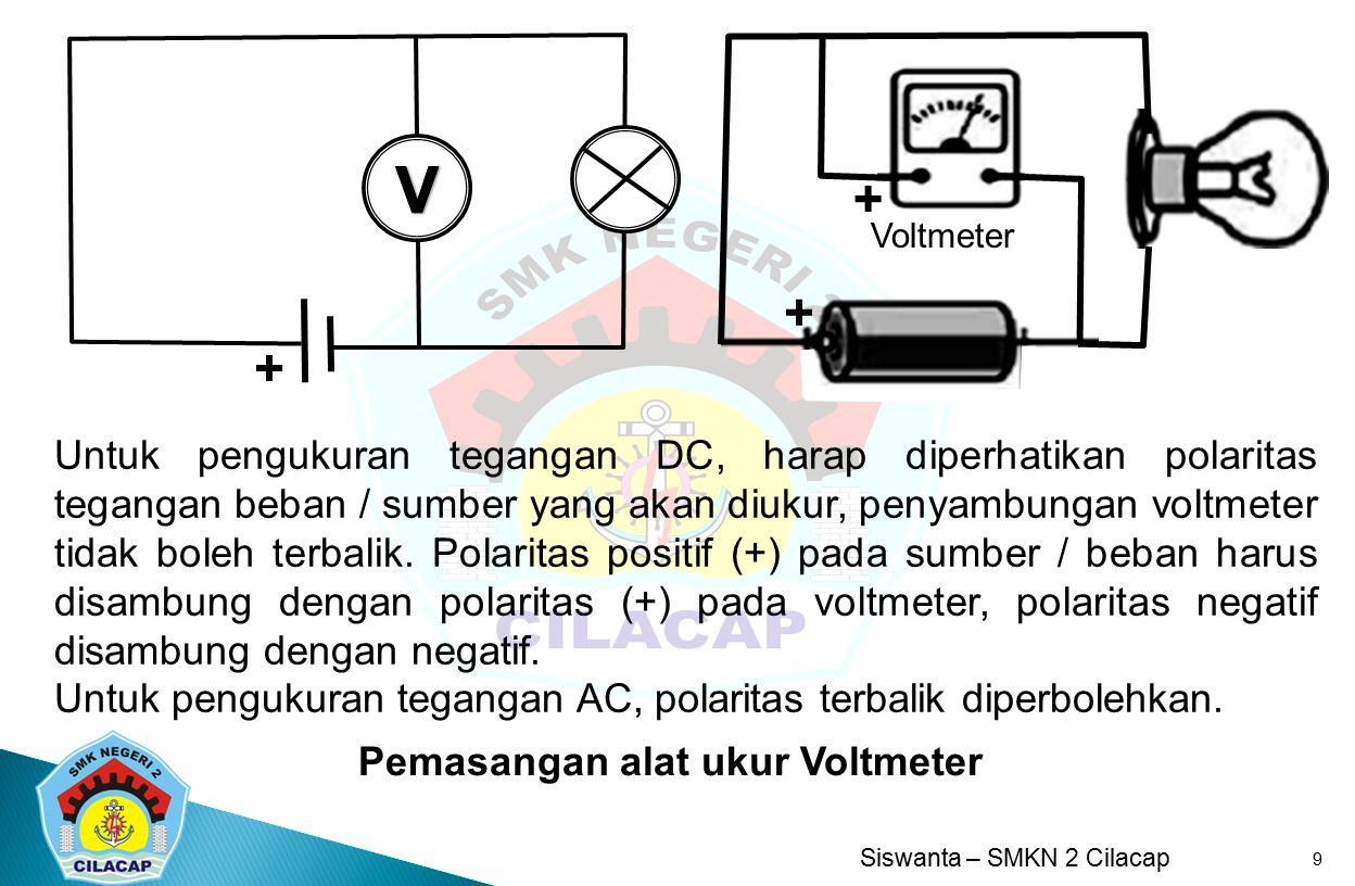 Siswanta – SMKN 2 Cilacap 9 Pemasangan alat ukur Voltmeter + + + Untuk pengukuran tegangan DC, harap diperhatikan polaritas tegangan beban / sumber ya