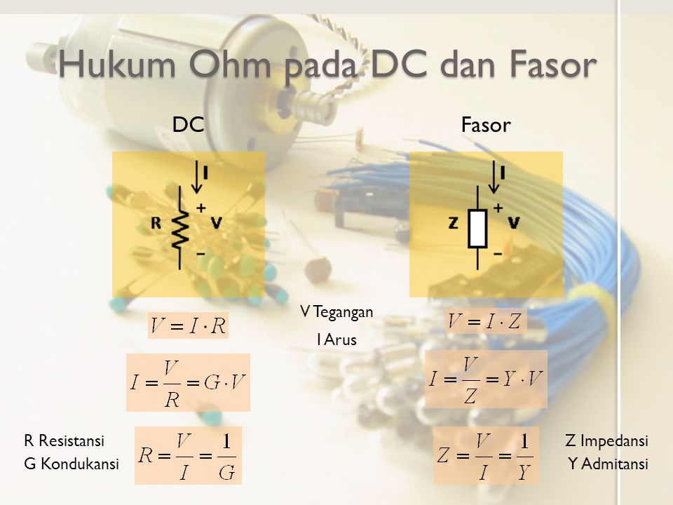 Hukum Ohm pada DC dan Fasor DCFasor R Resistansi G Kondukansi Z Impedansi Y Admitansi V Tegangan I Arus