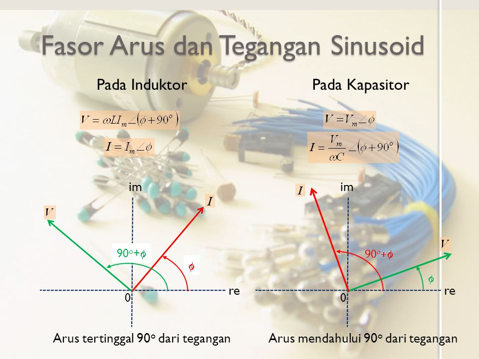 Hubungan Arus Tegangan dalam Fasor Pada resistor Pada induktor Pada kapasitor