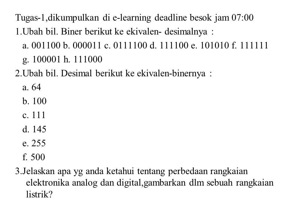 Tugas-1,dikumpulkan di e-learning deadline besok jam 07:00 1.Ubah bil. Biner berikut ke ekivalen- desimalnya : a. 001100 b. 000011 c. 0111100 d. 11110