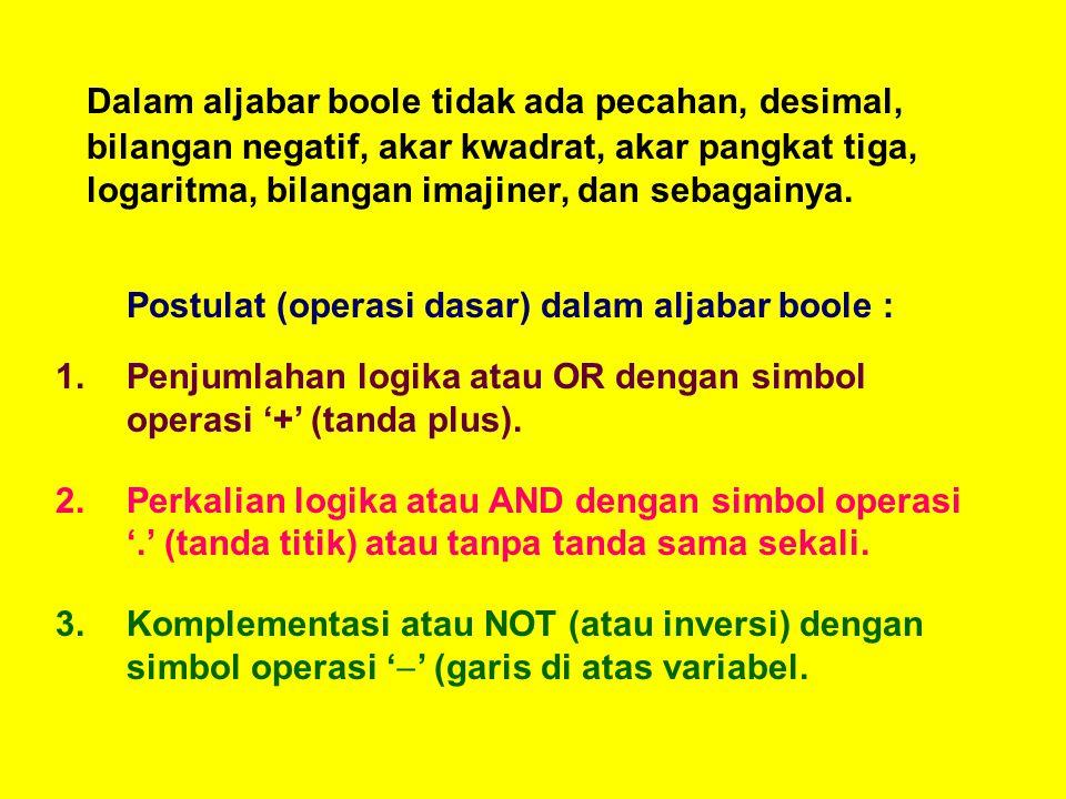 Dalam aljabar boole tidak ada pecahan, desimal, bilangan negatif, akar kwadrat, akar pangkat tiga, logaritma, bilangan imajiner, dan sebagainya. Postu
