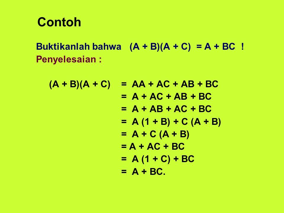 Contoh Buktikanlah bahwa (A + B)(A + C) = A + BC ! Penyelesaian : (A + B)(A + C)= AA + AC + AB + BC = A + AC + AB + BC = A + AB + AC + BC = A (1 + B)