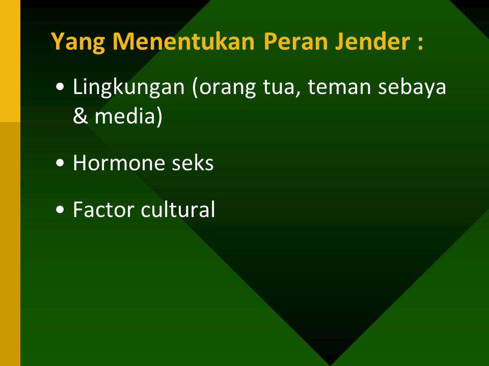 Yang Menentukan Peran Jender : Lingkungan (orang tua, teman sebaya & media) Hormone seks Factor cultural