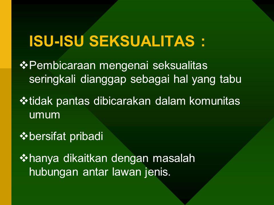 ISU-ISU SEKSUALITAS :  Pembicaraan mengenai seksualitas seringkali dianggap sebagai hal yang tabu  tidak pantas dibicarakan dalam komunitas umum  b