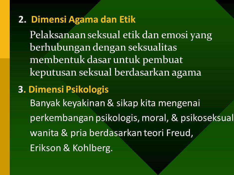 3. Dimensi Psikologis 2. Dimensi Agama dan Etik Pelaksanaan seksual etik dan emosi yang berhubungan dengan seksualitas membentuk dasar untuk pembuat k