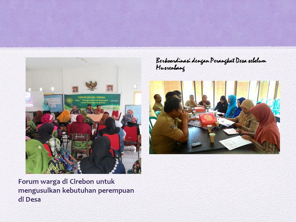 Forum warga di Cirebon untuk mengusulkan kebutuhan perempuan di Desa Berkoordinasi dengan Perangkat Desa sebelum Musrenbang